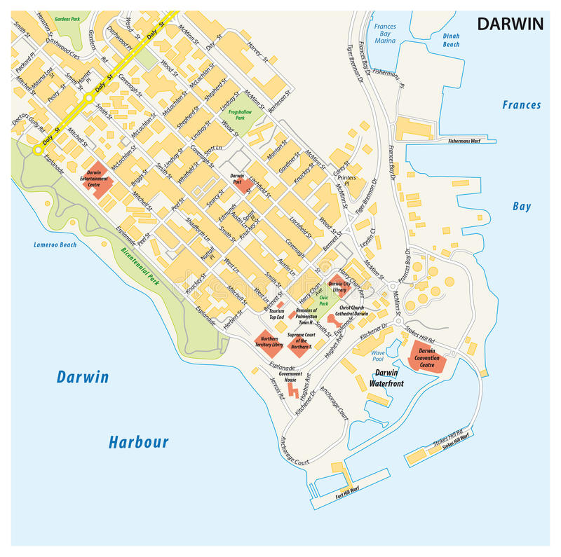 Street Map Of The City Of Darwin Northern Territory Australia
