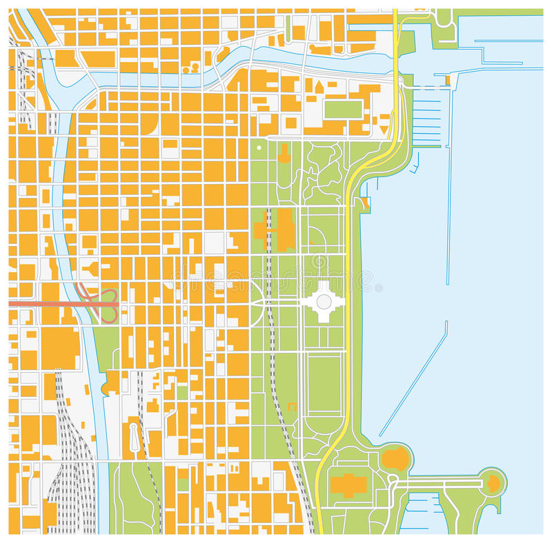 Street map of downtown Chicago, Illinois stock illustration