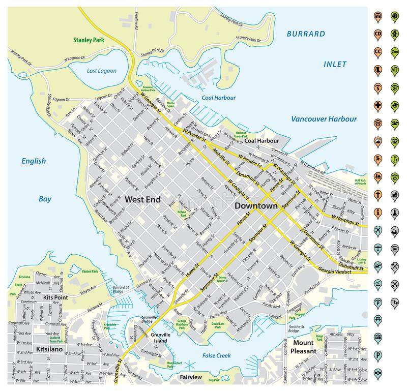 Street map of downtown Vancouver with pin pointers and infrastructure icons.  vector illustration