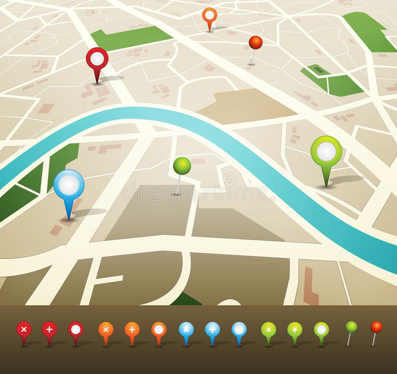 Street Map With GPS Pins Icons vector illustration