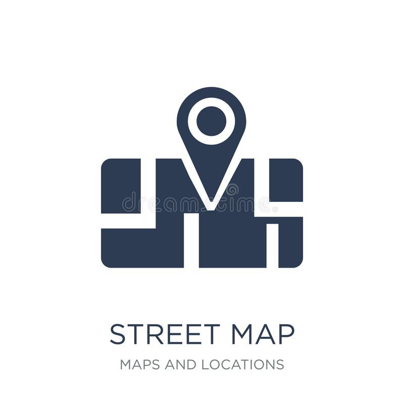 Street Map icon. Trendy flat vector Street Map icon on white background from Maps and Locations collection. Vector illustration can be use for web and mobile royalty free illustration
