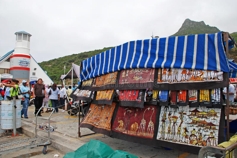 Street market of African crafts,Cape Town, South Africa. stock image