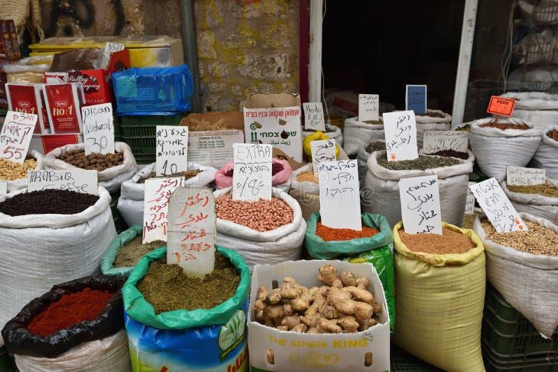 Street market in Akko, Israel stock photo
