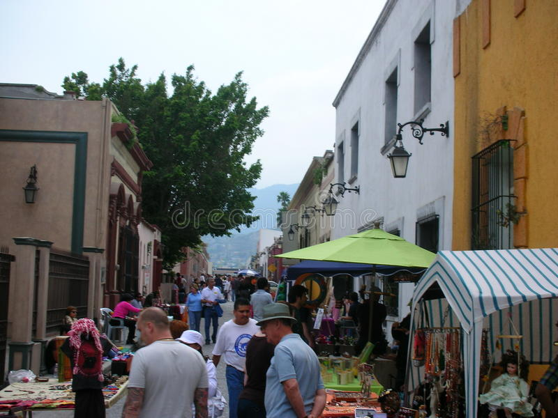 Street market. Around in Monterrey downtown, Mexico stock images