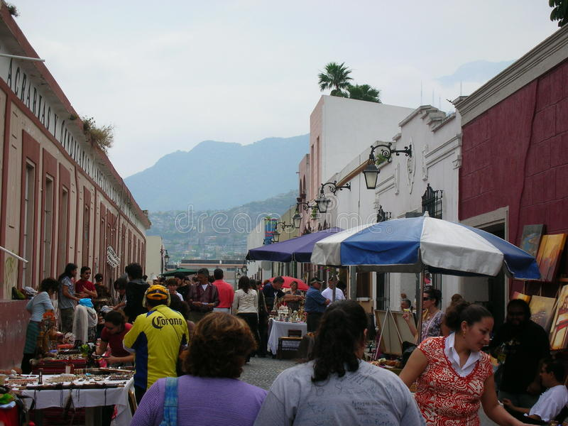 Street market. Around in Monterrey downtown, Mexico stock photography