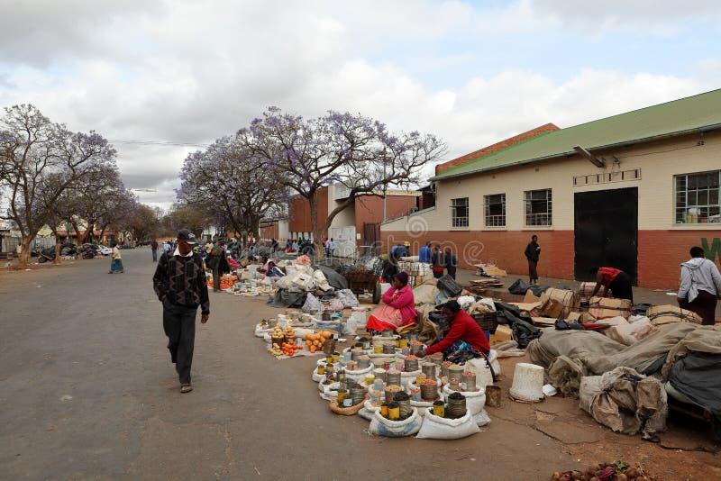 The street market of Bulawayo in Zimbabwe, 16. September 2012 stock photos
