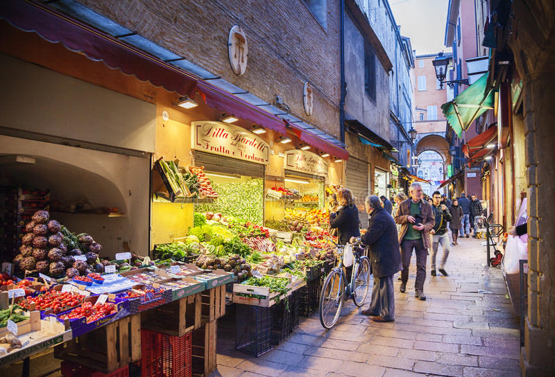 Street market and grocery stores in open stock photos