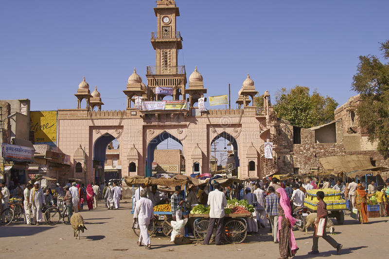 Street Market in Nagaur, India. Busy market outside main gateway to the historic fort in Nagaur, India stock image