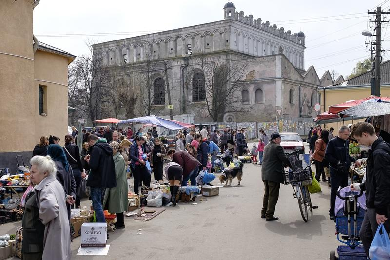 Street market nearby Synagogue in Zhovkva. Lviv region, Ukraine. April 2016 royalty free stock photos