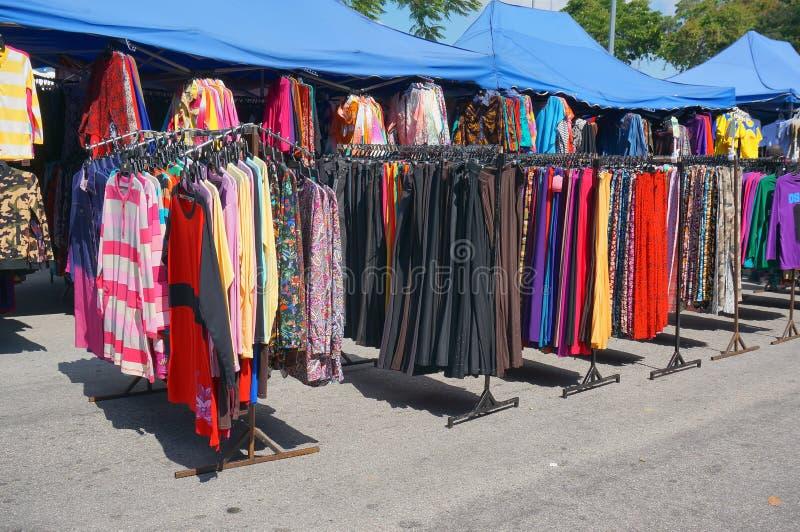 Street market. PAHANG, MALAYSIA - MAY 25, 2014 : Clothing store at street market every sunday at UTC Pahang, Malaysia on May 25, 2014 royalty free stock photography