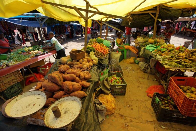 Street market of Queixo Dantas in Brazil stock images