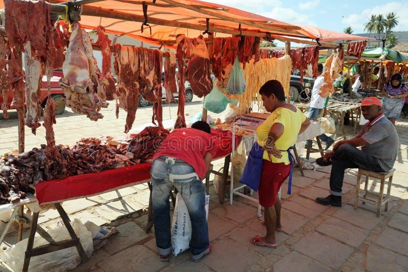 Street market of Queixo Dantas in Brazil royalty free stock images