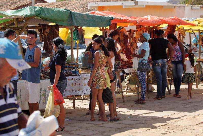 Street market of Queixo Dantas in Brazil royalty free stock image