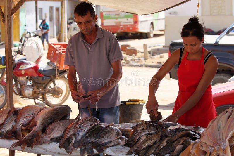 Street market of Queixo Dantas in Brazil stock photography
