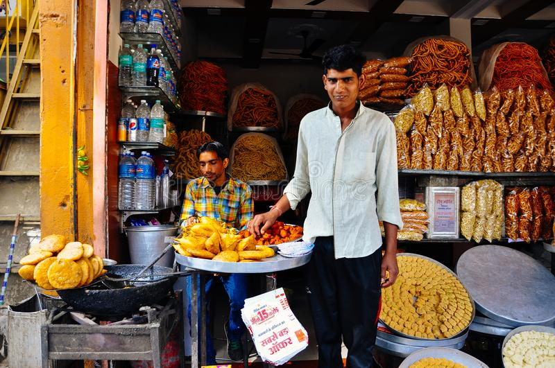 A street market in Jaipur, India. royalty free stock photography