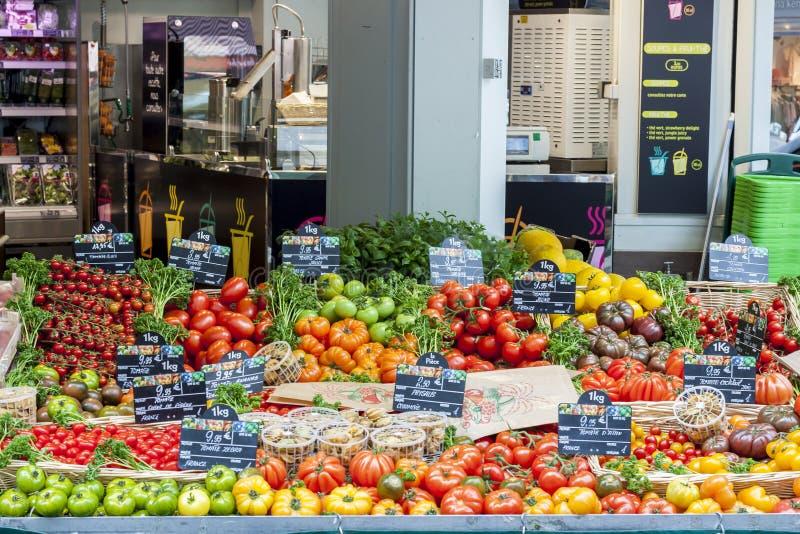 Street market with vegetables - Paris. Street market with vegetables - Paris, France stock photos