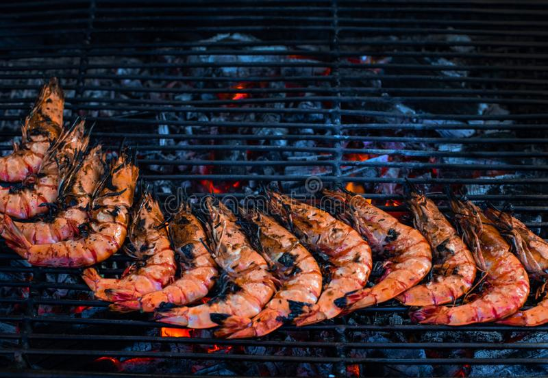 Street market with Vietnamese food and cousine. Exotic asian food. Grilled seafood, top view royalty free stock photos