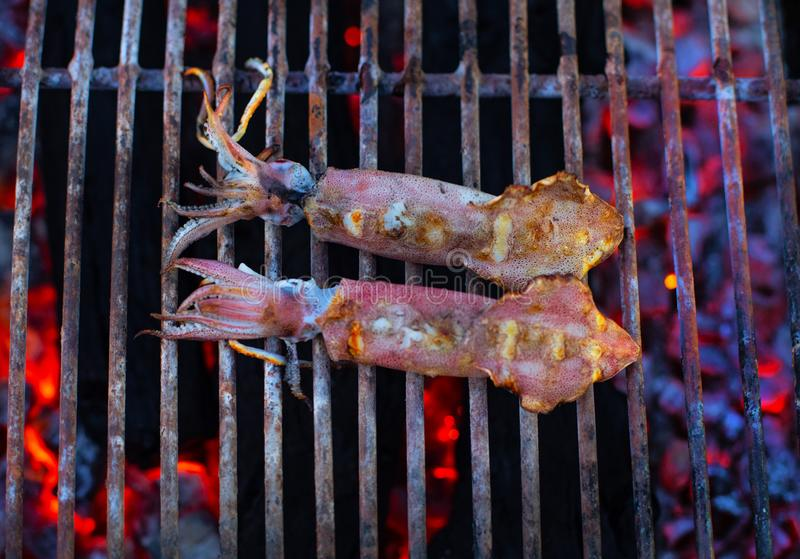 Street market with Vietnamese food and cousine. Exotic asian food. Seafood BBQ stock photography