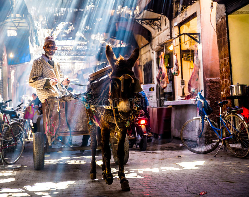 Street in Marrakech. Busy traditional street in the Medina of Marrakech with locals and tourists, Morocco