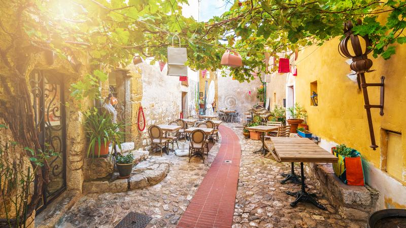 Street in medieval Eze village, french Riviera coast, Cote d`Azur, France royalty free stock photography