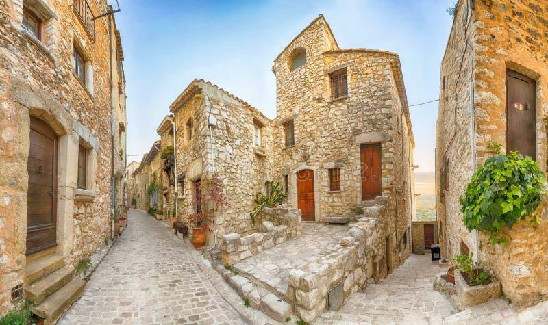 Street of medieval mountain village Tourrettes-sur-Loup. Narrow street of medieval mountain village Tourrettes-sur-Loup, Alpes-Maritimes, France stock image
