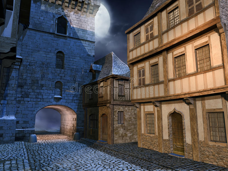 Download Street in a medieval town stock illustration. Image of medieval - 30738131