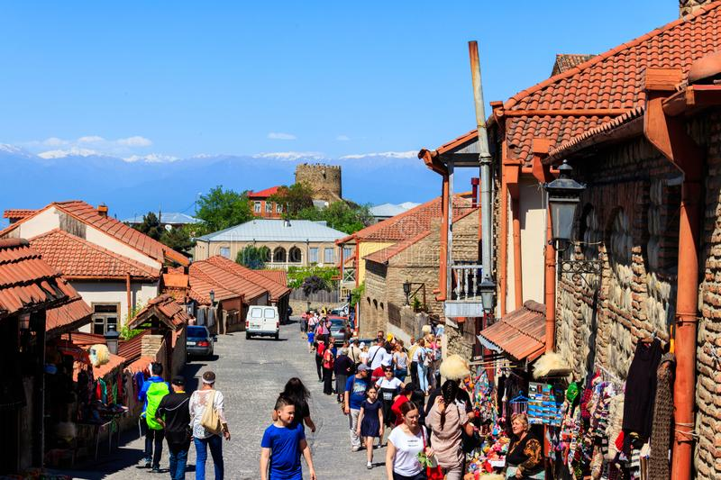 Street in medieval town Sighnaghi. Sighnaghi, Kakheti, Georgia - May 2, 2018: Street in medieval town Sighnaghi. Sighnaghi or Signagi is a heart of Georgia`s royalty free stock photos