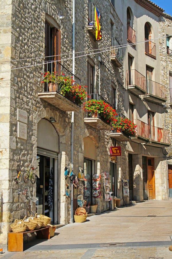 Street in the medieval village Besalu, Spain royalty free stock photography
