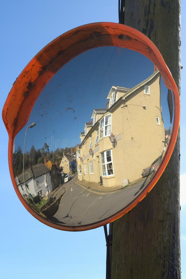 Street mirror. With buildings in village Beer, Devon stock images
