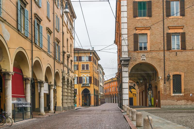 Street in Modena, Italy. Street with historical houses in Modena downtown, Italy stock photography