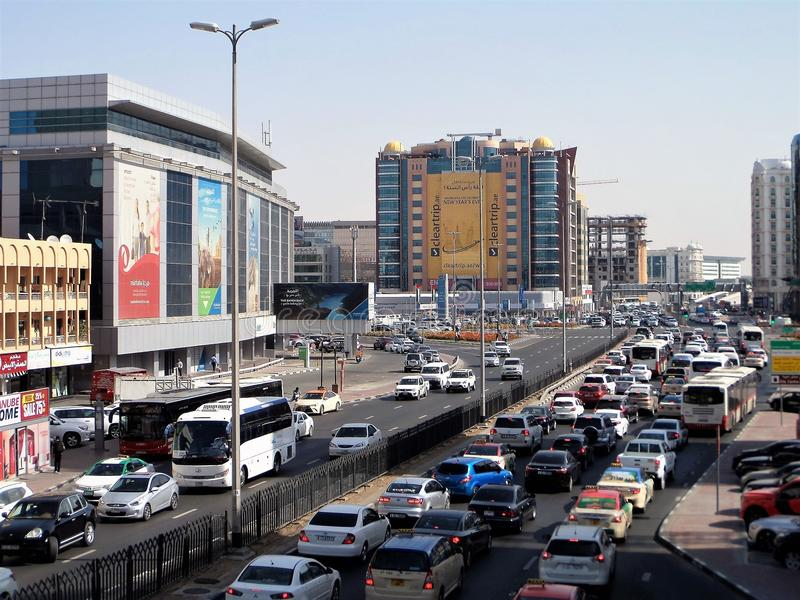 The traffic jam during rush hour in Dubai. royalty free stock images