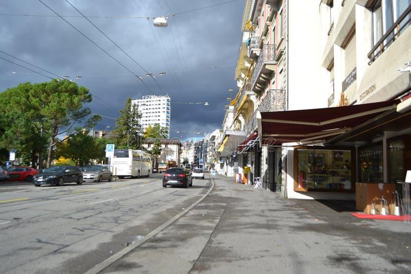 Street In Montreux, Switzerland Editorial Stock Image