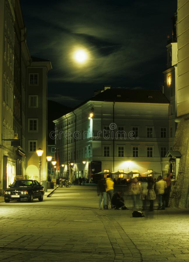 Street in moon light royalty free stock image