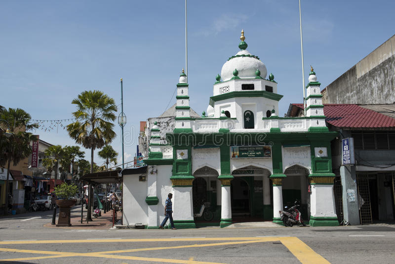 Street with Mosque at Georgetown, Malaysia. stock image