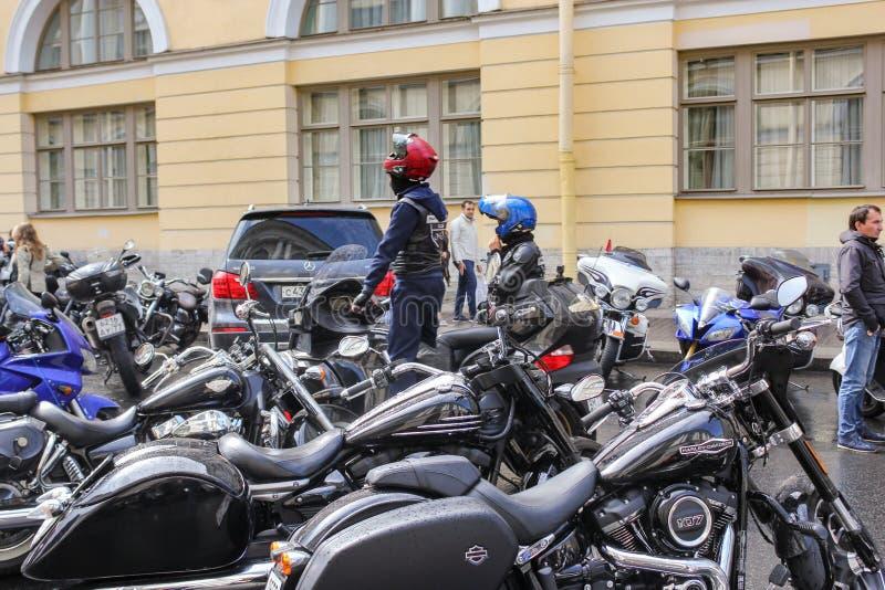Street motorcycle parking stock photo