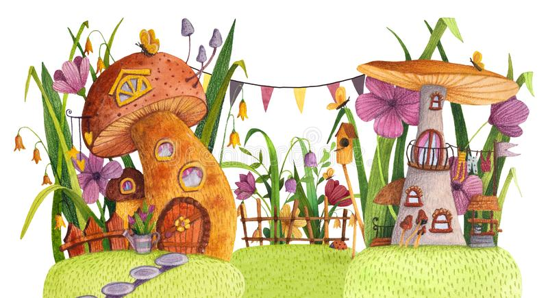 Street of mushroom houses with grass, flowers, butterfly, nesting box, fence, banner and well. stock illustration