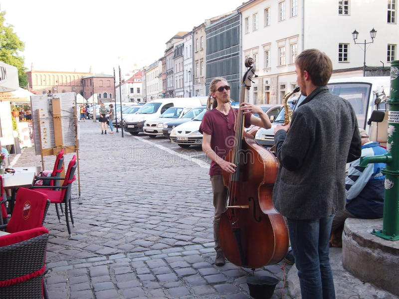 Street music in Krakow stock images