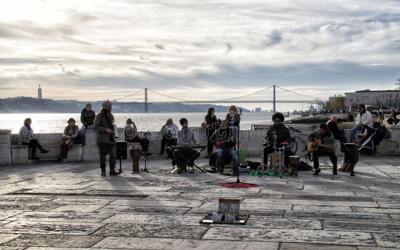 Street music in Lisbon in the Plaza de Comercio. royalty free stock image
