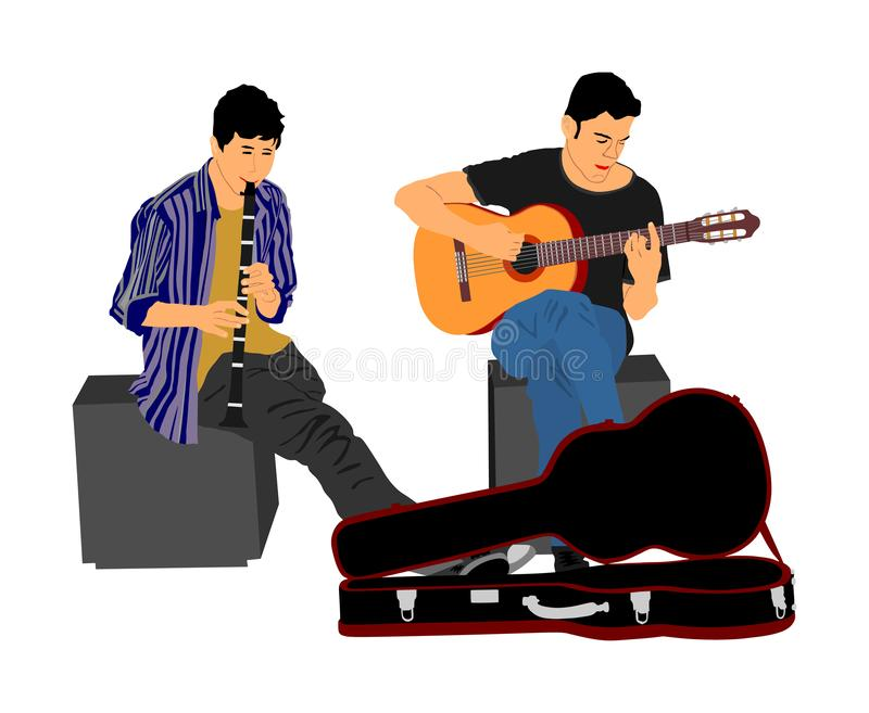 Street music performers with guitar and flute, clarinet vector illustration isolated on white background. Guitar player duet. Street music performers with royalty free illustration