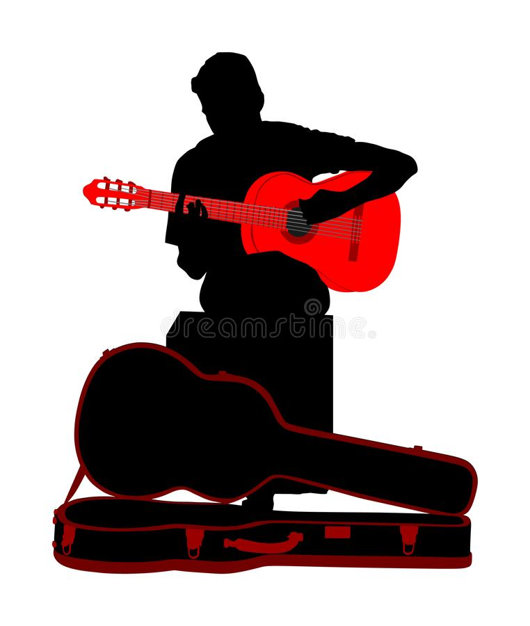 Street music performers with guitar vector silhouette illustration isolated on white background. Guitarist player. Musician boy. royalty free illustration