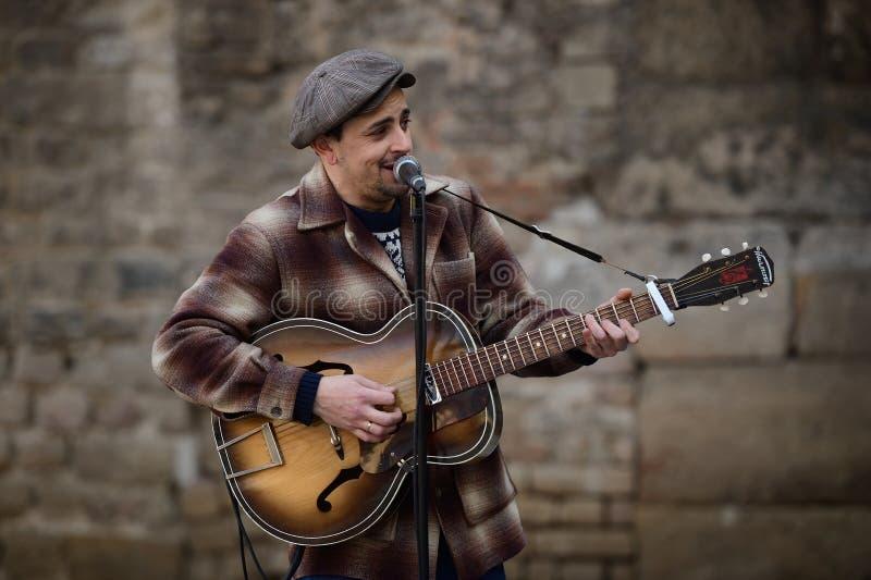 Street musician in Barcelona stock photo