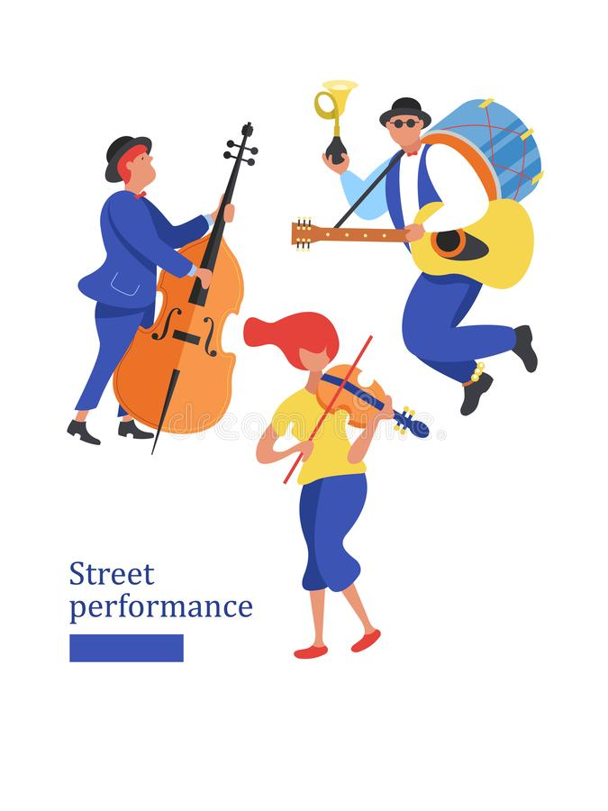 Street musician. Man band, violinist, bass player. Street performance. Vector illustration in flat style. royalty free illustration