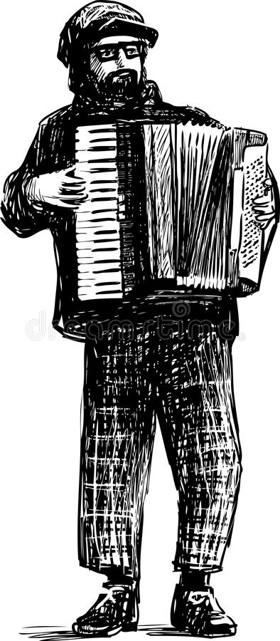 A street musician plays the accordion. Vector drawing of a busker playing the accordion vector illustration