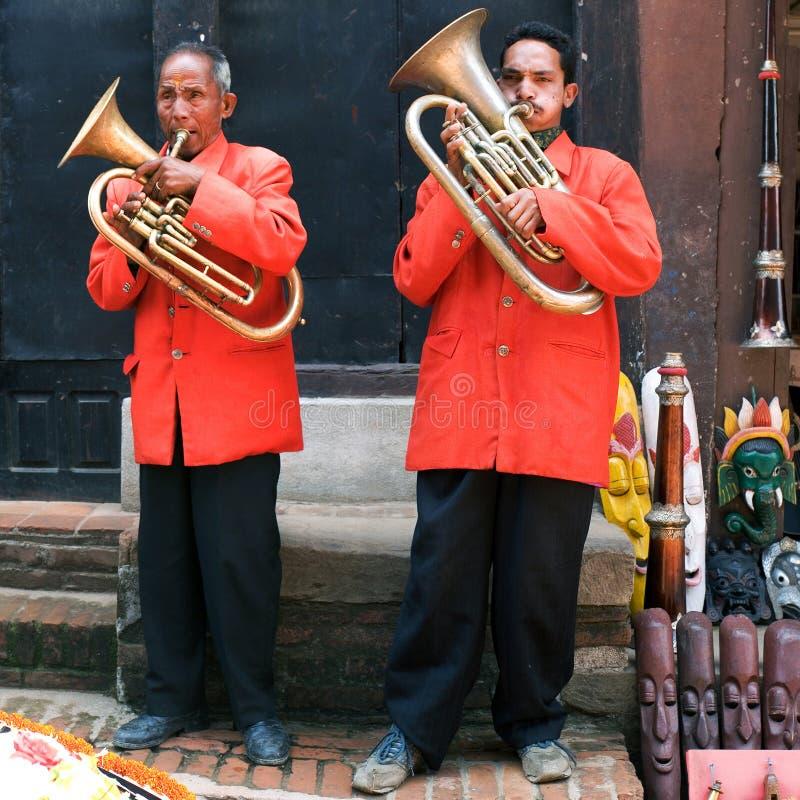 Street musicians, Nepal stock image