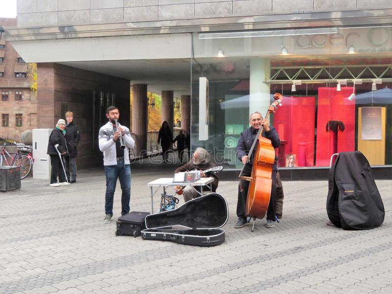 Street musicians in Nuremberg, Germany stock photography