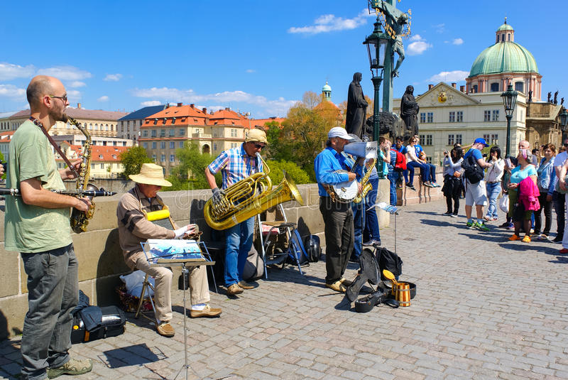 Street Musicians in Prague stock photos