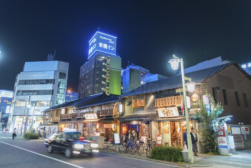 Street in Nagoya city, Japan. NAGOYA, JAPAN - May 30, 2017: street in Nagoya city at night on May 30, 2017, Japan royalty free stock photos