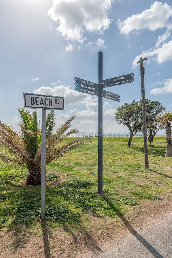 Street name and directional signs at Mouille Point, Cape Town. A street name and directional signs at Mouille Point in Cape Town in the Western Cape Province stock photo