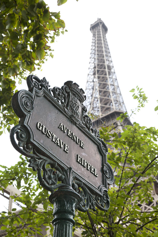Street name and Eiffel tower royalty free stock photo