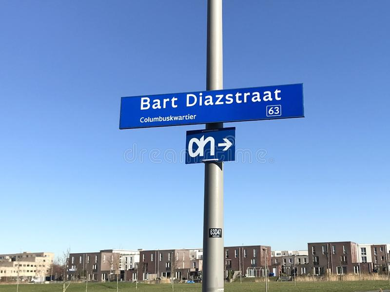 Street name sign Bart Diazstraat - Almere. Almere Poort, Flevoland, the Netherlands - February 15, 2019: Street name sign Bart Diazstraat in Almere Poort stock photography